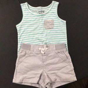 Toddler girls tank top and shorts set
